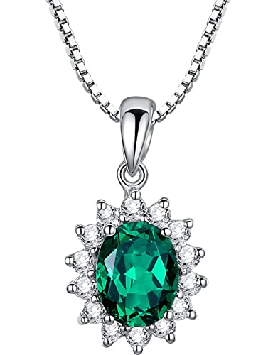 Sterling silver 3 carats oval lab created emerald pendant necklace sterling silver 3 carats oval lab created emerald pendant necklace sc106n6 mozeypictures Image collections