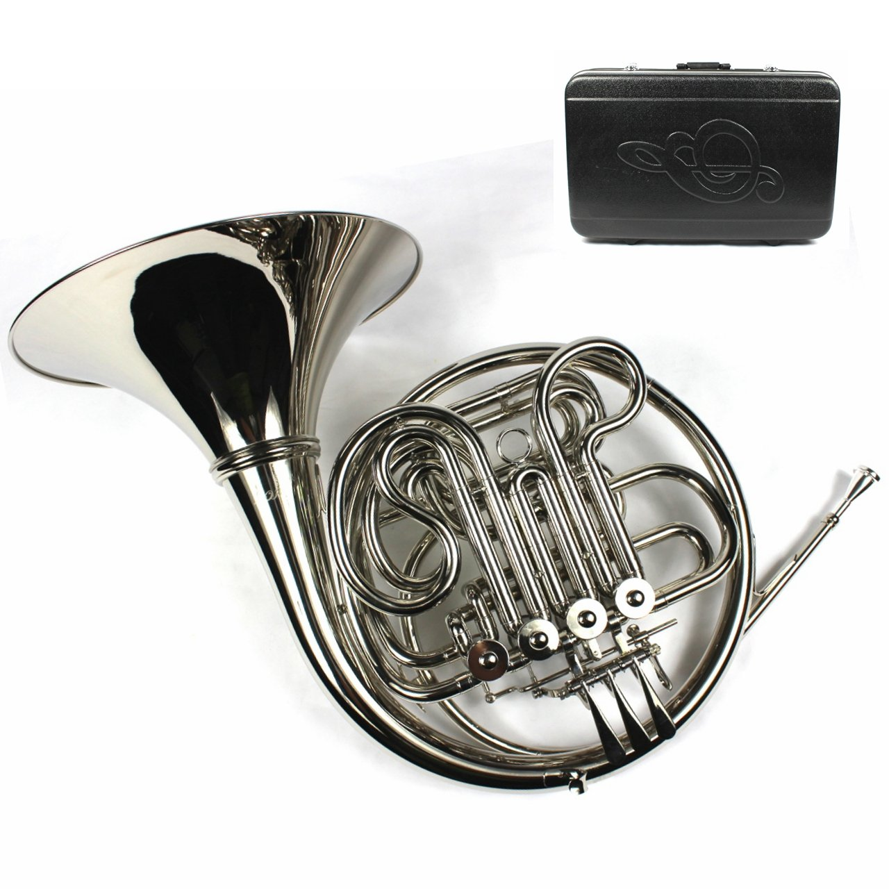Monel Rotors Bb/F 4 Keys Double French Horn w/Case & Mouthpiece-Nickel Plated Finish by Moz