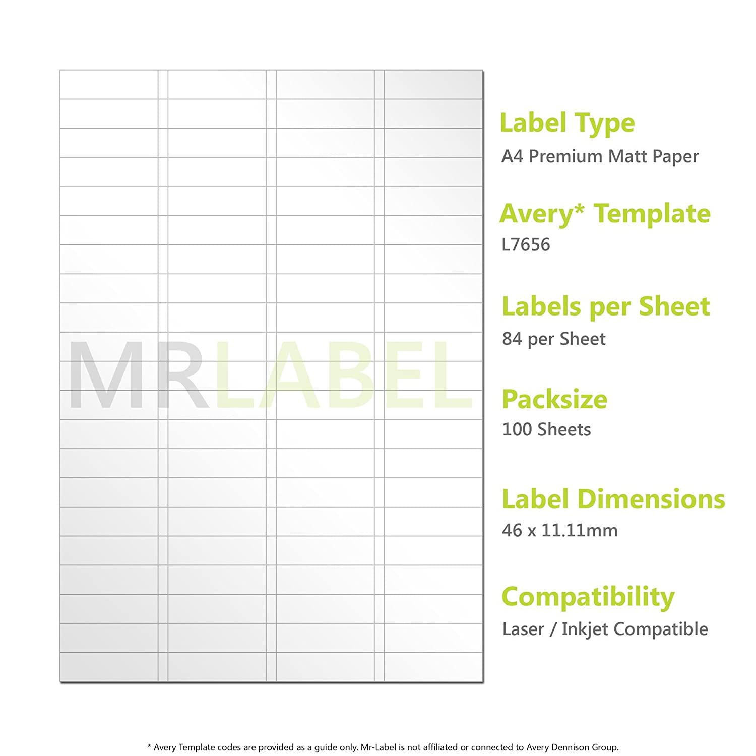 Avery Compatible A4 Self Adhesive Sticky Labels L7656 J8656 84