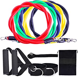 Resistance Bands Set - Expander Yoga Exercise Fitness Rubber Tube Bands for Home Gyms - Workout Elastic Pull Rope - Body Stretch Training Pedal Excerciser