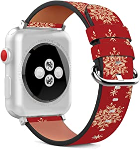 Compatible with Apple Watch - 38mm / 40mm (Serie 6/5/4/3/2/1) Leather Wristband Bracelet with Stainless Steel Clasp and Adapters - Red Snowflake