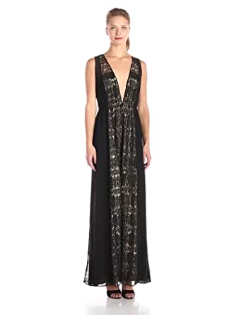 Amazon.com: BCBGeneration Women's V-Neck Maxi Dress, Black/Combo ...