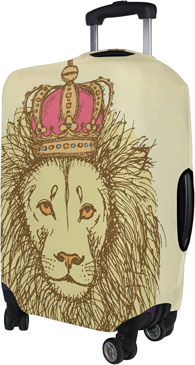 GIOVANIOR Sketch Lion With Crown In Style Luggage Cover Suitcase Protector Carry On Covers
