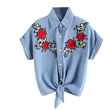 Amazon.com: DondPO Fashion Women Short Sleeve Rose Flower T Shirt Summer Short Tee Tops Shirts Pullover Casual Blouse Cowboy T-Shirt: Clothing