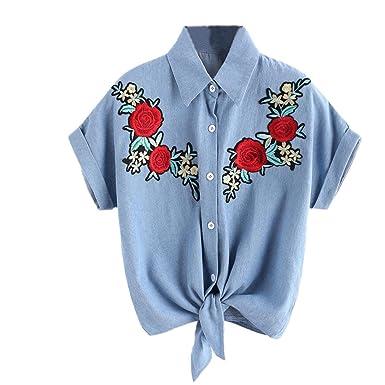 Amazon.com: DondPO Fashion Women Short Sleeve Rose Flower T Shirt Summer Short Tee Tops Shirts Pullover Casual Blouse Cowboy T-Shirt: Clothing