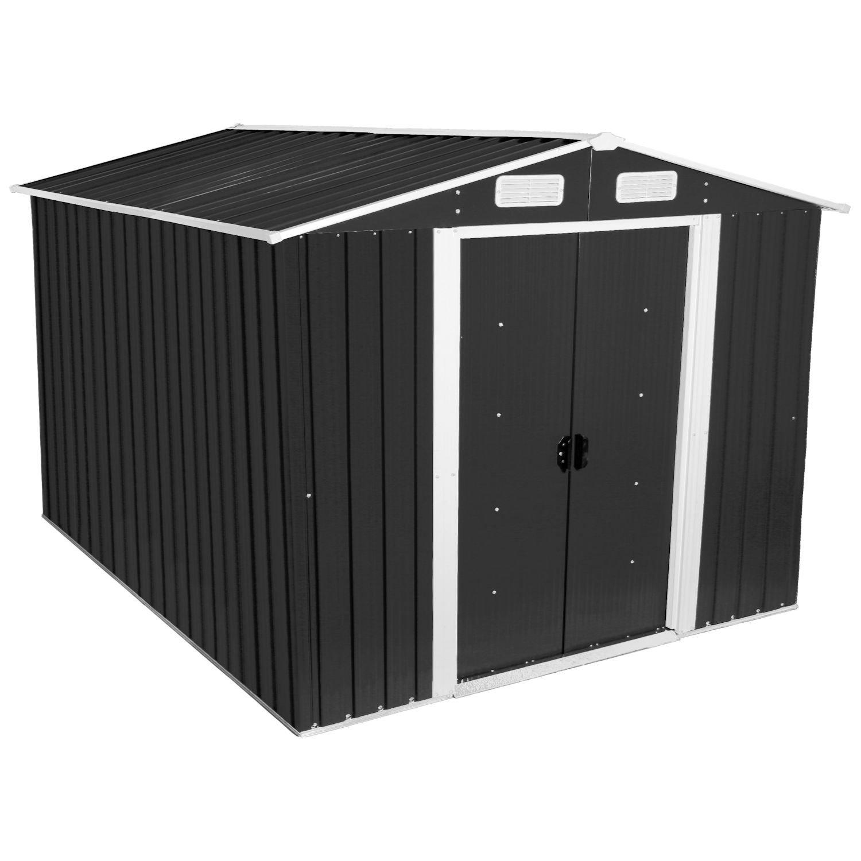 Zelsius - Caseta para herramientas, cobertizo para herramientas con tejado a dos aguas, 3 x 2, 5 m, color gris antracita: Amazon.es: Jardín