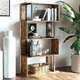 IRONCK Bookcase and Bookshelf 4 Tier Display Shelf, S-Shaped Z-Shelf Bookshelves, Freestanding Multifunctional Decorative Sto