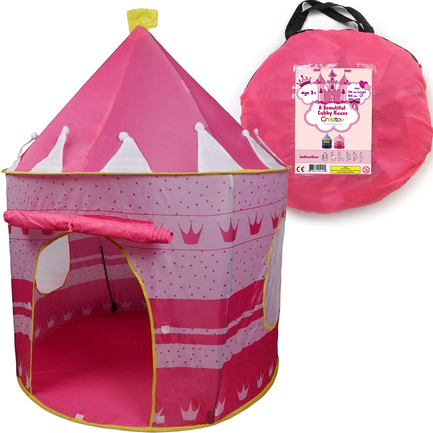 Amazon.com Children Play Tent Girls Pink Castle for Indoor/Outdoor Use With Glow in the Dark Stars Foldable with Carry Case - Creatov Toys u0026 Games  sc 1 st  Amazon.com & Amazon.com: Children Play Tent Girls Pink Castle for Indoor ...