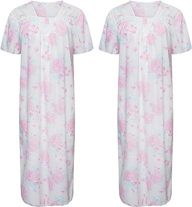 Motivo Floreale Camicia da Notte a Maniche Corte Rosa