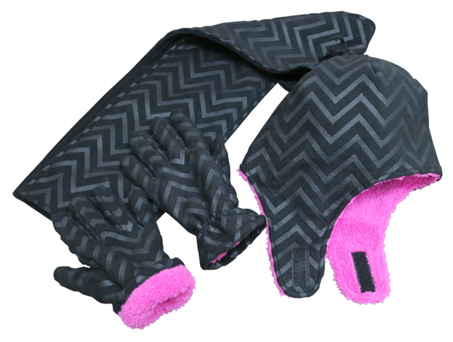 N'Ice Caps Little Girls and Baby Zig Zag Sherpa Lined Hat/Scarf/Mitten Set (4-6 Years, Black Chevron Print with Gloves)