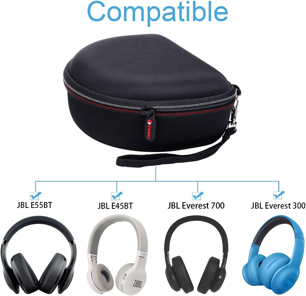 E45BT E55BT Wireless  Around-Ear Headphones XANAD Case For JBL Everest 700//300
