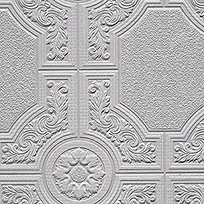 Norwall Paintable Wallpaper Large Ornate Tile look 57.75 Sq Ft Roll 48929