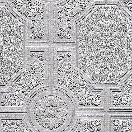 33' Victorian Tool - Manhattan comfort NW48929 Brooklyn Series Vinyl Textured Paintable Floral Square Design Large Wallpaper Roll, 21