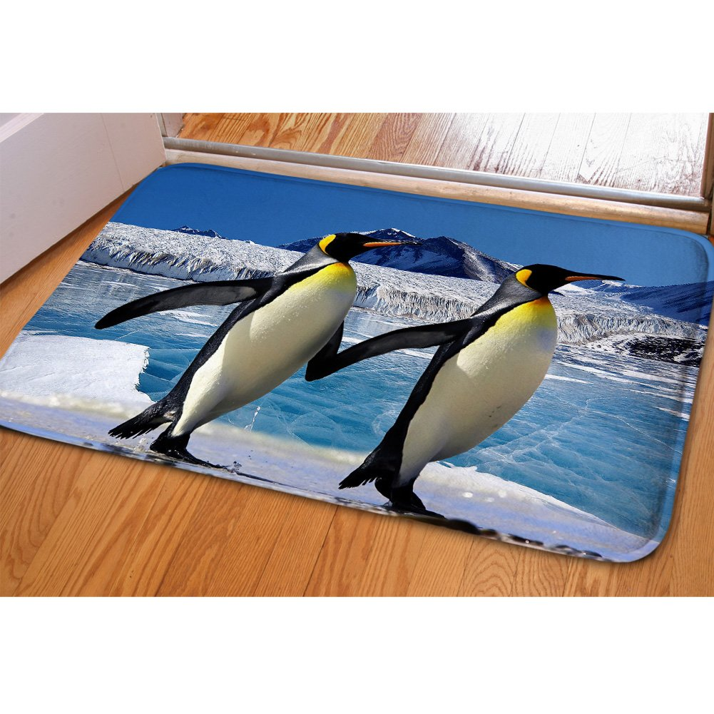 HUGS IDEA Penguins Cute Animals Doormat Non Slip Washable Indoor Outdoor Floor Mats Soft Rugs for House by HUGS IDEA (Image #1)