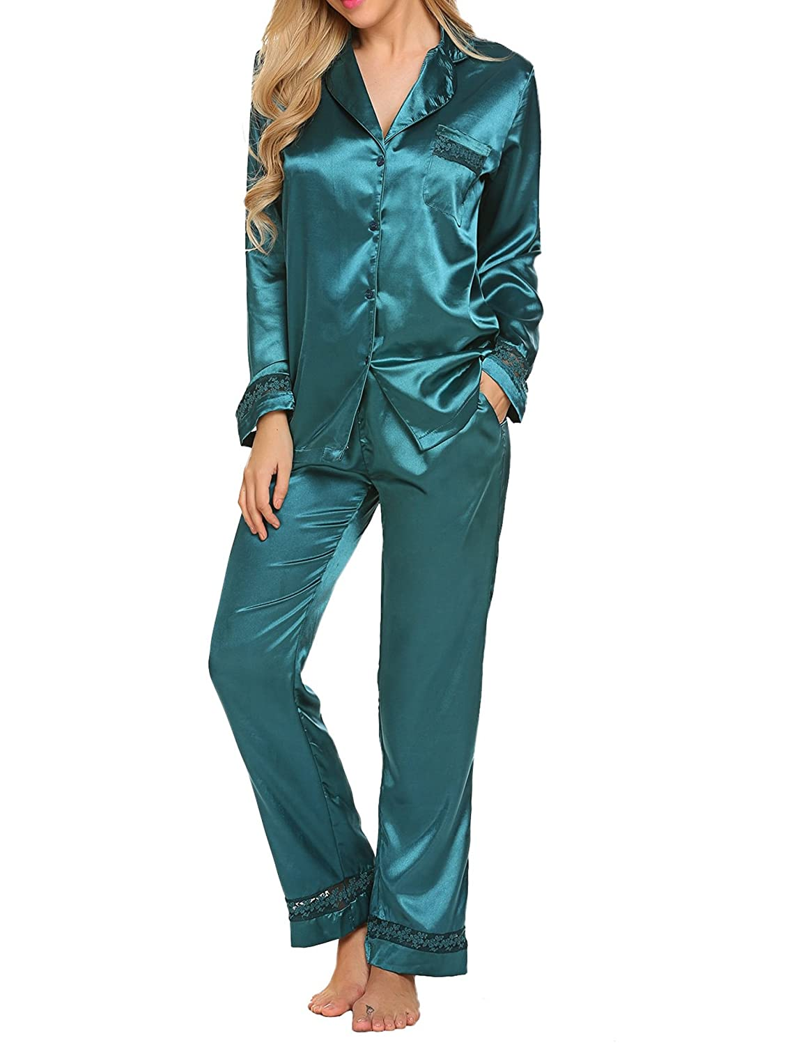 6c9894e2a13d HOTOUCH Womens Silk Satin Pajamas Set Sleepwear Loungewear Dark Green XXL   Amazon.co.uk  Clothing