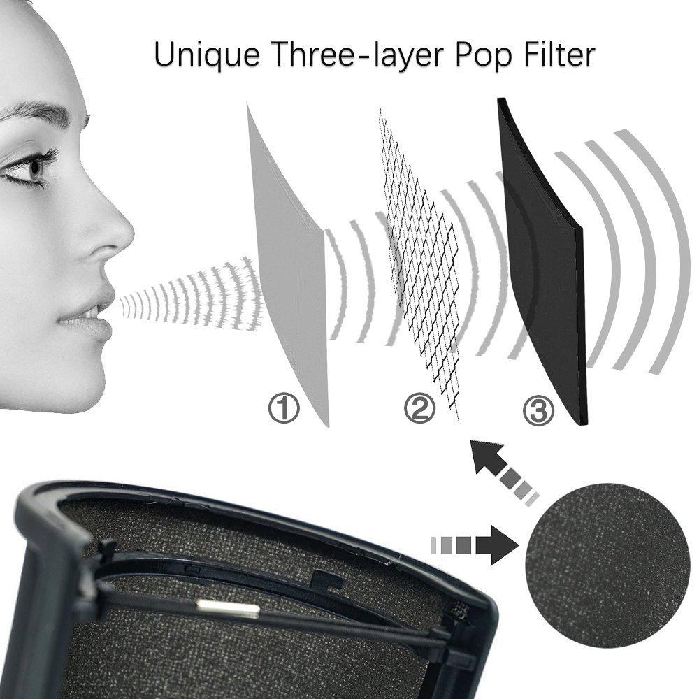 nero Leagy rete metallica e strato di schiuma mic copertura antivento per microfono con filtro antipop Screen studio Shield