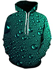 Water Drops 3D Print Hoodies, Unisex Pullover Couple Men Women, Cool Hooded Sweatshirts Long Sleeve Jumper, Casual Sportswear