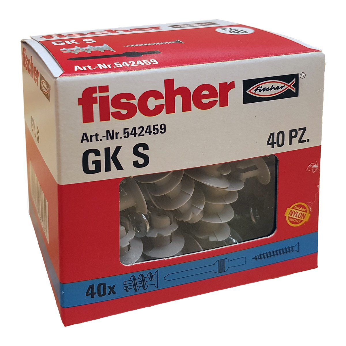 Set of 40/ Pieces Grey Fischer 542459/ Dowel with Screw for Plasterboard GX