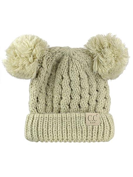b1c09373d2c C.C Kids  Children s Cable Knit Double Ear Pom Cuffed Beanie Cap Hat-Beige