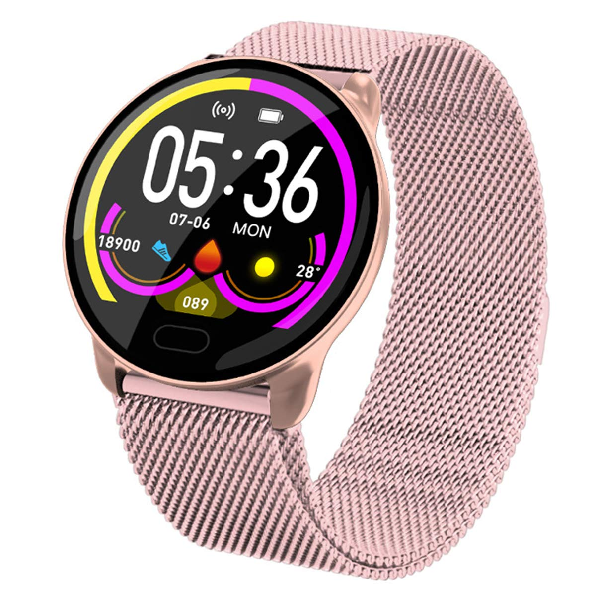 SPORS Round Screen Sports Intelligent Heart Rate Blood Pressure Monitoring Bracelet, Sleep Blood Oxygen Monitoring Call Reminder Watch-Pink by SPORS
