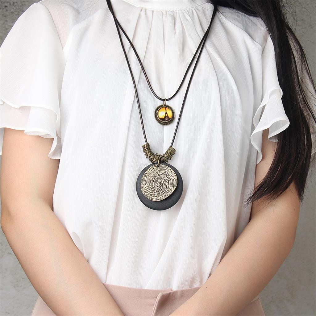 #1 Marr/ón Sharplace Collar Colgante Redondo Multicapa Estilo /Étnico Retro para Mujer