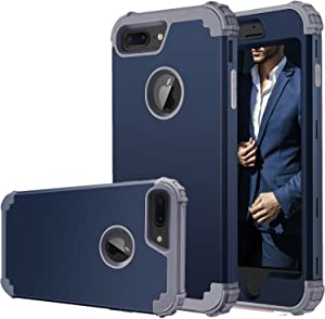 iPhone 7 Plus Case,iPhone 8 Plus Case, Fingic Full-Body Cover 3 in 1 Hybrid Hard PC & Soft Silicone Heavy Duty Rugged Bumper Shockproof Protective Phone Case for iPhone 7/8 Plus,Navy Blue+Gray