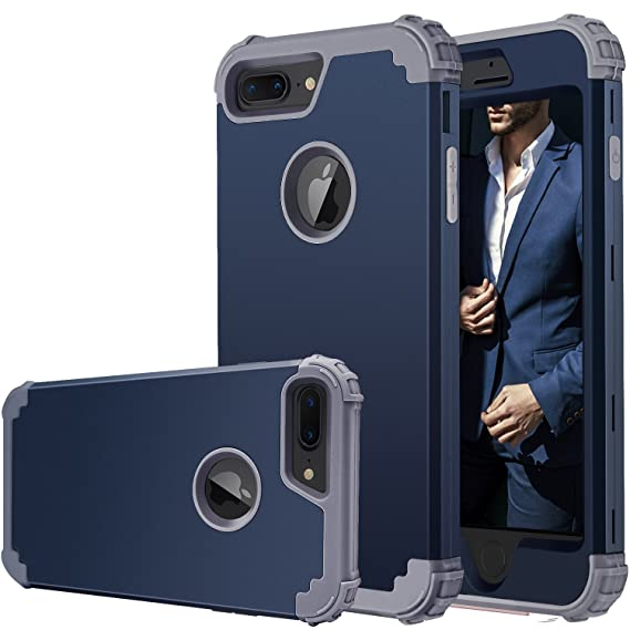 pretty nice 7288e b5fe9 iPhone 7 Plus Case,iPhone 8 Plus Case, Fingic Full-Body Cover 3 in 1 Hybrid  Hard PC & Soft Silicone Heavy Duty Rugged Bumper Shockproof Protective ...