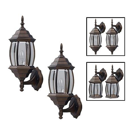 exterior lantern lighting. Outdoor Exterior Lantern Light Fixture Wall Sconce Twin Pack, Oil Rubbed Bronze Lighting
