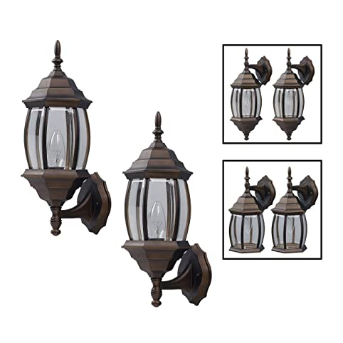 Outdoor Exterior Lantern Light Fixture Wall Sconce Twin Pack, Oil ...