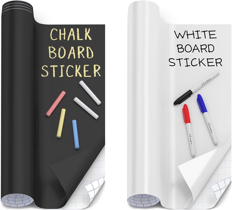 Kassa Wall Sticker Boards Bundle - Chalkboard & Whiteboard Contact Paper - Chalk & Dry Erase Markers Included