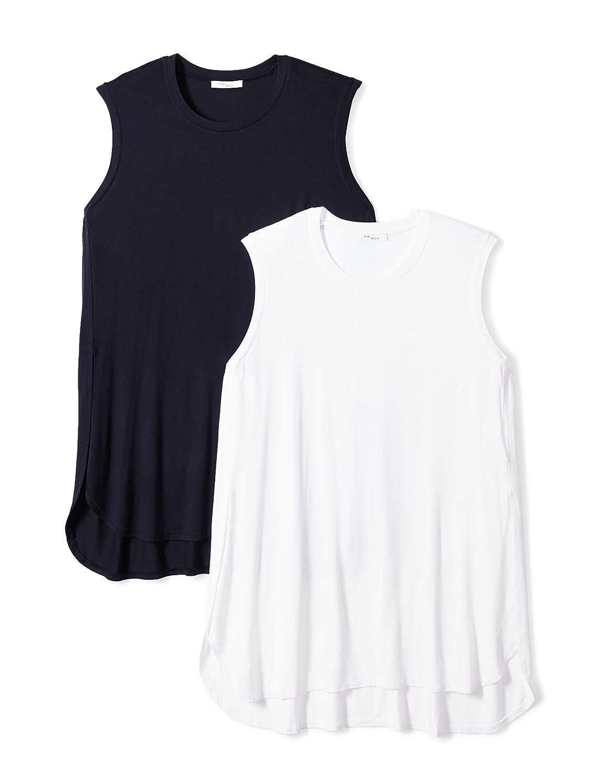 2-Pack Daily Ritual Womens Plus Size Jersey Sleeveless Tunic