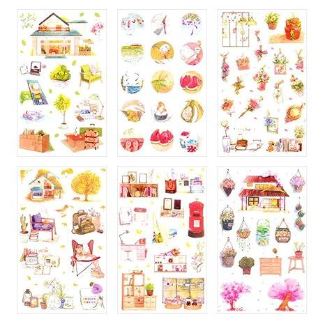 Cdet 6X Pegatinas Inicio Dulce y cálido Linda Pegatinas Etiquetas engomadas Decorativas del teléfono móvil de los niños