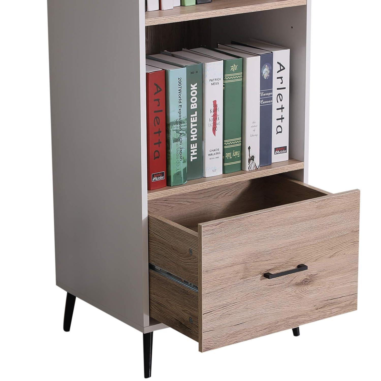 HOMCOM Modern 2-Tier Vertical Storage Cabinet Display Rack Home Organzier Living Room