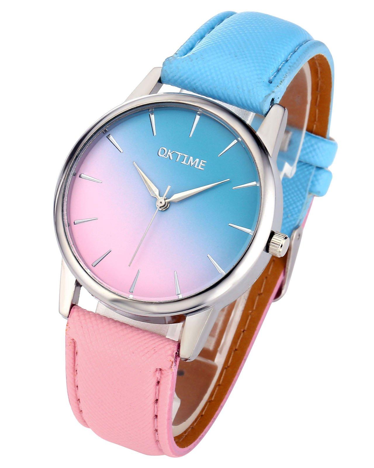 JSDDE 2x Fashion Cute Candy Farbe Damen Armbanduhr Blau-Pink Farbverlauf Quarz Uhr Freundschaft Schwestern Uhren Set