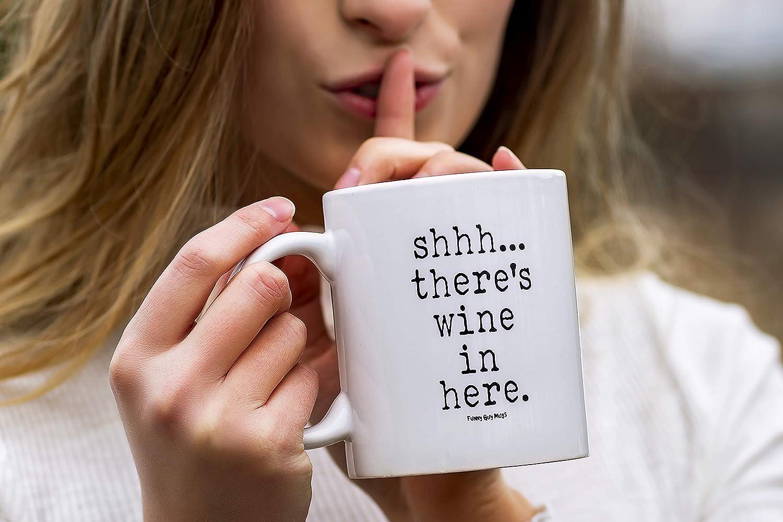 Funny Mugs Shh Theres Wine In Here Beer Wine Pub Bar Christmas Dad MAGIC MUG