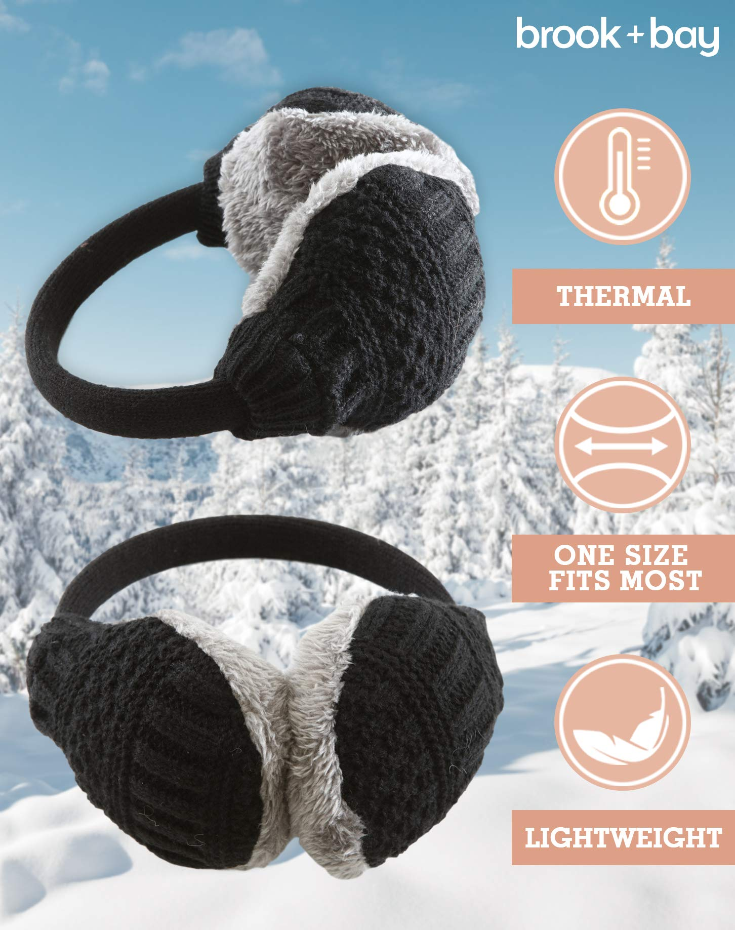 Womens Ear Muffs – Winter Ear Warmers/Covers – Cable Knit Furry Fleece Earmuffs for Cold Weather