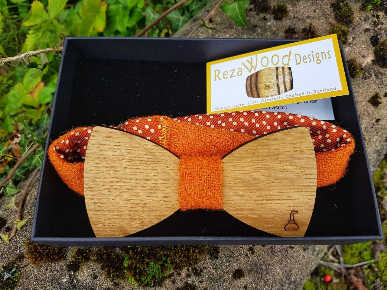 Whisky Barrel wooden bowtie with pot still detail and orange Harris Tweed straps