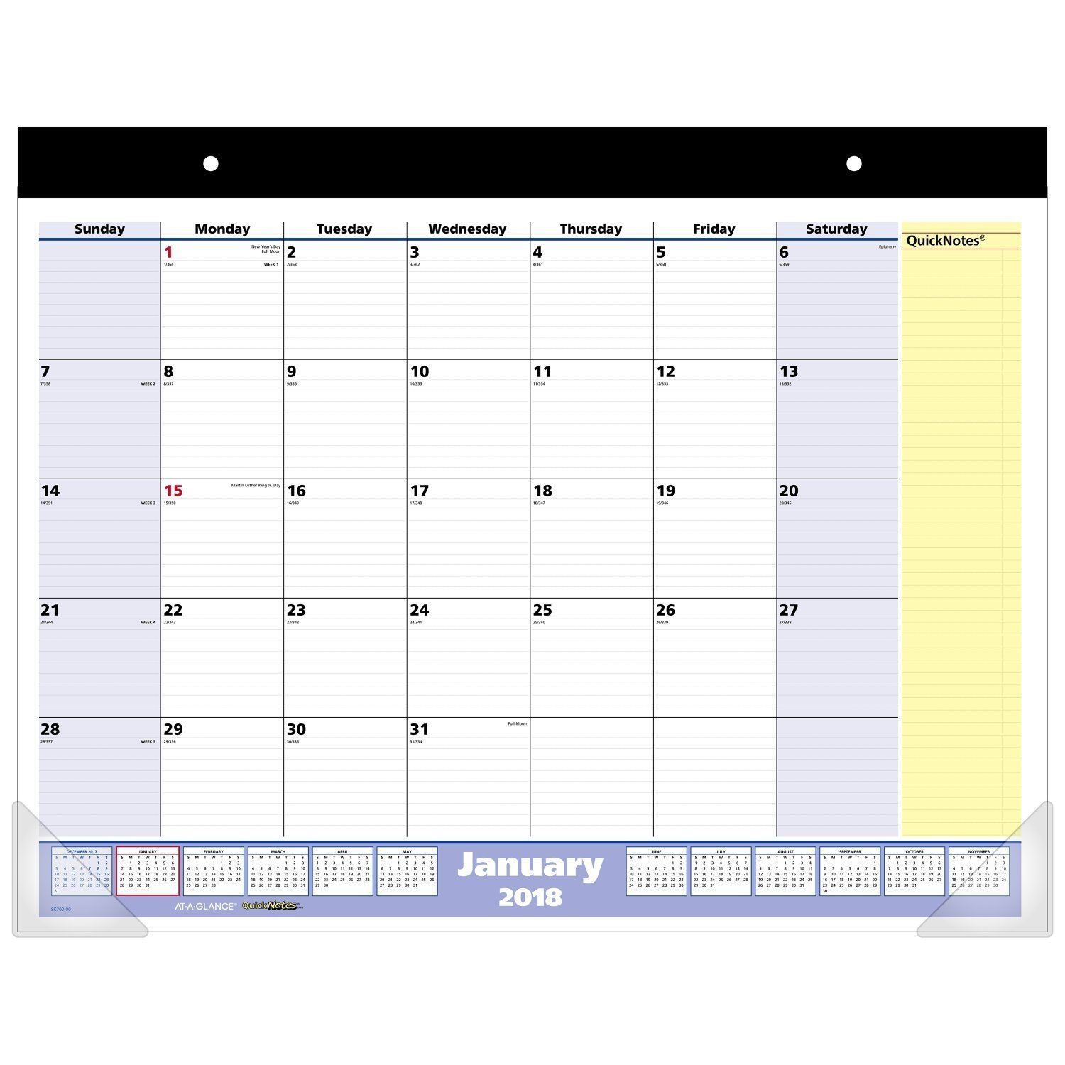 AT-A-GLANCE Monthly Desk Pad Calendar, QuickNotes, January 2019 - December 2019, 22'' x 17'' (SK70000-19) With Westcott Support Breast Cancer Scissor (PACK of 12) by CreativeRewards-Calendar (Image #2)