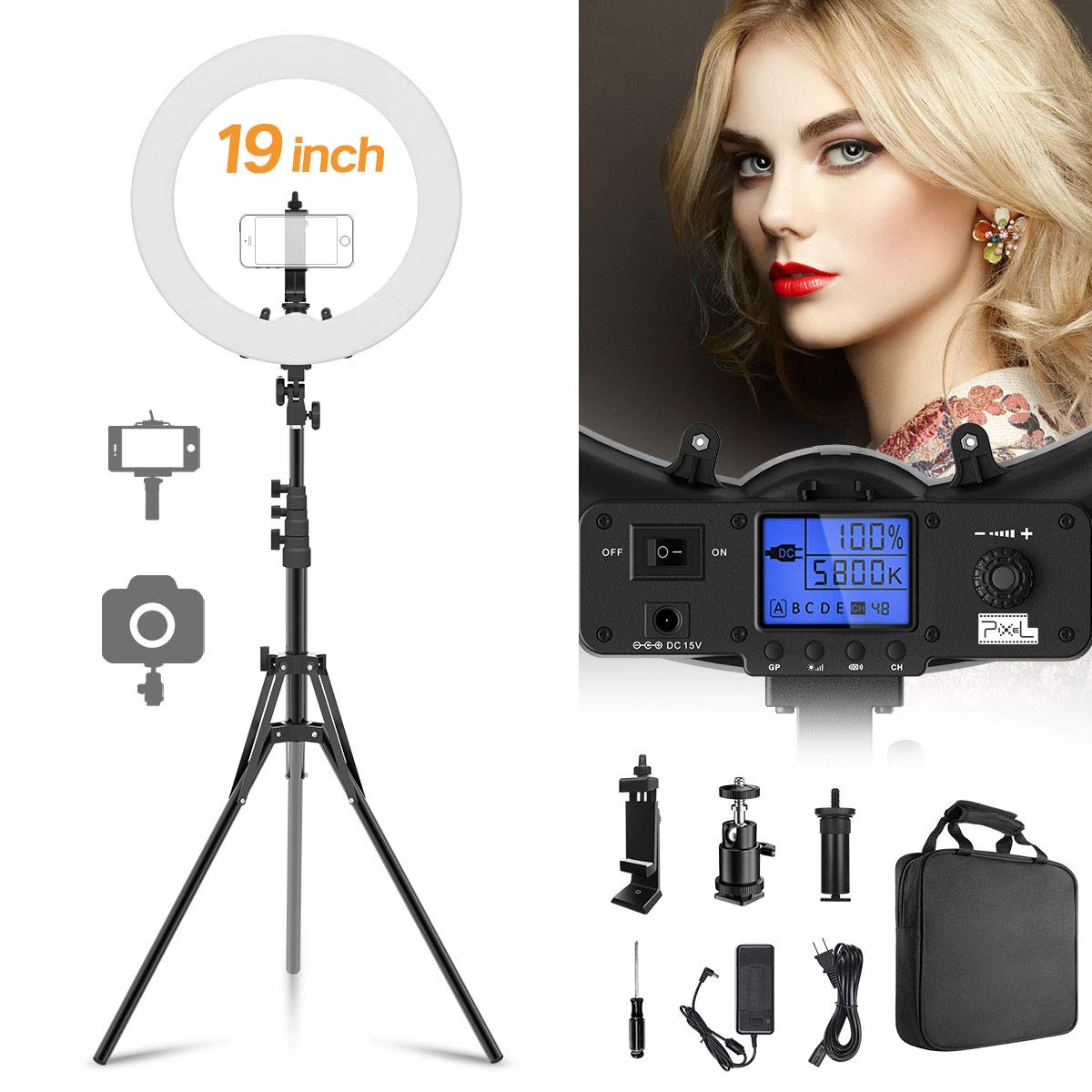Ring Light, Pixel 19'' Bi-Color LCD Display Ring Light with Stand, 55W 3000-5800K CRI≥97 Halo Light Ring for Vlogging Portrait Makeup Video Shooting
