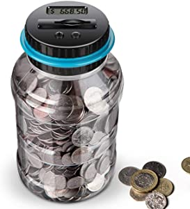 Digital Piggy Banks for Adults,Transparent Coin Bank,Automatic Counting Money Bank with LCD,1.8L Large Coin Counter