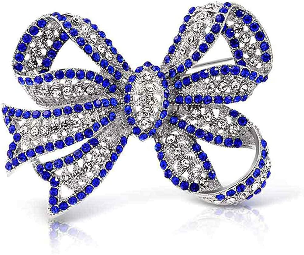 Large Statement Vintage Style Royal Blue Clear Bridal Ribbon Crystal Scarf Bow Brooch Pin for Women Silver Plated