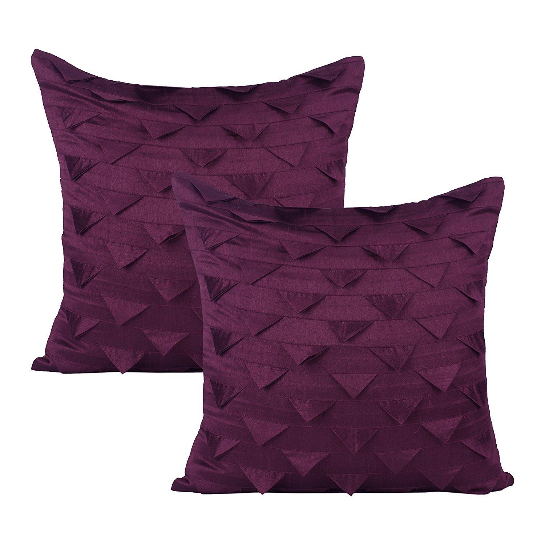 セットの2ソリッドシルク三角形Origami Pillow Covers 18x18 inch パープル Plum Origami Tri 18 MPN B077G2PDBF 18x18 inch|プラム プラム 18x18 inch