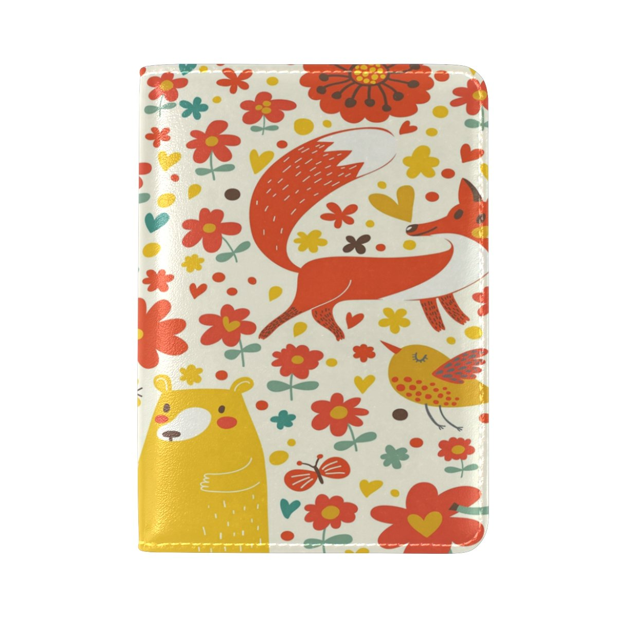 ALAZA Autumn Bear Fox Bird Deer PU Leather Passport Holder Cover Case Travel One Pocket