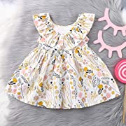 Dress for Girls,Children's Sleeveless Ruffled Floral Print Princess Dresses Clothes Outfits