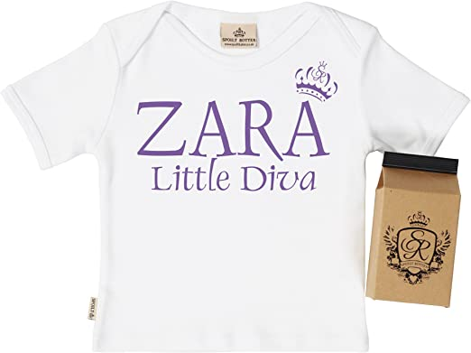 Gift Boxed PERSONALISED Little Diva Baby T-Shirt Baby T Shirt SR Personalised Baby Clothing Baby Top