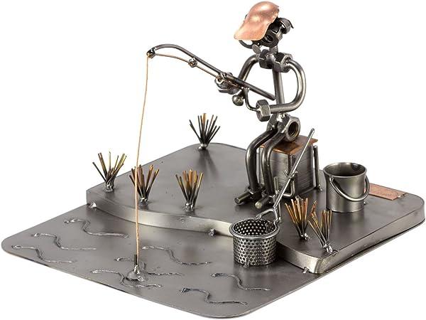 Steelman24 I Figurine En Métal Pêcheur En Lac I Made In