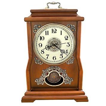 Reloj de Mesa Mantel Relojes de Sala de Estar Dormitorio Continental de Madera Maciza Reloj de Cuarzo silencioso Adornos -MAX Home (Color : Chestnut Color): ...