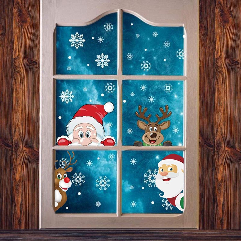 Pegatinas de Navidad, Ahsado Adornos Navideños, Pegatina Copo de Nieve, PVC Extraíbles Ventanas Pegatinas de Navidad Hacen Que el Hogar esté Lleno de Ambiente Navideño