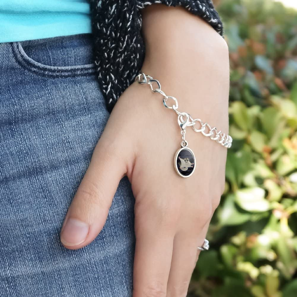 GRAPHICS /& MORE Sugar Glider of The Night Silver Plated Bracelet with Antiqued Oval Charm
