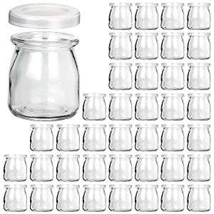 Glass Jars, KAMOTA 40 PACK 6oz Clear Yogurt Jars With PE Lids, Glass Pudding Jars Yogurt Jars Ideal for Jam, Honey, Wedding Favors, Shower Favors, Baby Foods (200ml)